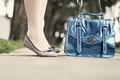 Picture handbag, ballet flats, feet