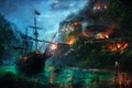 Picture ship, fortress, burns, assassin, Assassin's Creed, Black Flag, Assassin's Creed IV: Black Flag