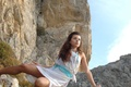 Picture Necklace, Beautiful Girl, Rocks, White Dress