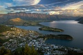 Picture New Zealand, lake, water, Mountains, the city, sunset