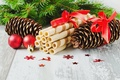 Picture balls, New Year, spruce, holidays, dessert, winter, bumps, waffle, tube, food, Christmas, branches