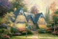 Picture flowers, Winsor Manor, painting, estate, painting, garden, cottage, estate, Thomas Kinkade, house, lantern, Thomas Kinkade