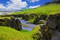 Picture greens, grass, clouds, mountains, stones, rocks, river, Iceland, Fjadrargljufur