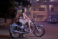 Picture girl, street, motorcycle