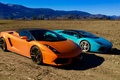 Picture field, the sky, mountains, nature, earth, Orange, Gallardo, lamborghini, blue, aventador, Lamborghini