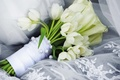 Picture delicate, wedding, lace, tulips, white, lovely, tulip, bouquet, softness, beautiful