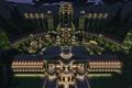 Picture lighting, trees, lights, tower, night, Palace, blocks, Minecraft