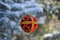 Picture New Year, tree, decoration, snow, Christmas, ball