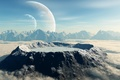 Picture planet, mountains, clouds, crater