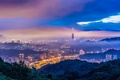 Picture mountains, lighting, China, Taipei, the city, lights, the storm, the evening, tower, twilight, haze, Taiwan, ...
