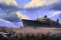 Picture clouds, ship, the skeleton, art, stranded, crack