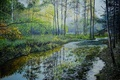 Picture reflection, trees, painting, forest river, water, stream, Lutsenko, landscape, river, forest