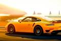 Picture road, light, landscape, Porsche, Porsche 911, Turbo S