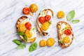Picture Scrambled eggs, Sandwiches, Tomatoes, Bread, Food, photo, Cheese, Leaves