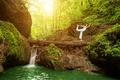 Picture pose, nature, waterfall, trees, Mike, moss, girl, in white, exercise, yoga, forest, pants
