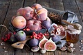 Picture ham, figs, grater, peaches, honey, berries, nuts, still life, figs