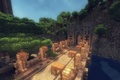 Picture mountain, bridge, the sky, the tunnel, gate, trees, water, tower, blocks, Minecraft, lantern, grass, river