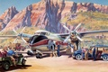Picture mountains, art, the plane, painting, departure., figure, preparation, the airfield