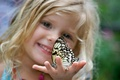Picture girl, mood, child, children, blonde, background, Wallpaper, curls, butterfly, insects