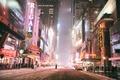 Picture Manhattan, America, Hercules Snowstorm, neon lights, snow, NYC, cataclysm, night, New York, New York City, ...
