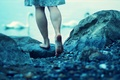 Picture wallpapers, feet, mood, plte, background, nature, swans, Wallpaper, lake, water, heel, blue, situation, river, stones