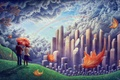 Picture rainbow, art, guy, hill, the wind, the city, pair, birds, foliage, girl, clouds