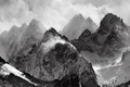 Picture black and white, snow, clouds, Mountains