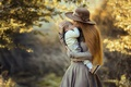 Picture hat, mother, child, baby, nature, motherhood, mom, woman, kiss, autumn, dress