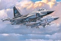 Picture jet, aviation, painting, airplane, Chinese FC-1 Prototype, war, art