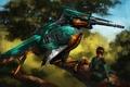 Picture girl, bird, robot, sniper, Kingfisher