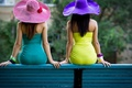 Picture bracelets, bench, girls, bright colors, dresses, hats