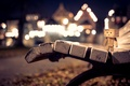 Picture bench, night, lights, the evening, shop, shop, Danbo, bench, bokeh, amazon, boxes