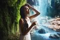 Picture girl, ideal, waterfall, wet, dress, Turkey, Mary Senn