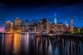 Picture the city, lights, river, building, New York, skyscrapers, the evening, support, USA, Lower Manhattan, East ...