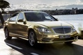 Picture Mercedes-Benz, sedan, spec.version, gold, Mercedes, the front, the sky, S-Class, Festival de Cannes