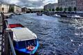 Picture boats, Fontanka, Saint Petersburg, glare, The sun, river