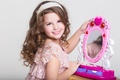 Picture girl, child, Little, smile, makeup, mirror, child, girls, mirror