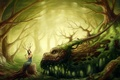 Picture forest, girl, dragon, druid, forest