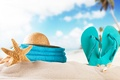 Picture hat, starfish, slates, towel, beach, shell, sand