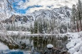 Picture trees, Mountains, river, landscape, winter