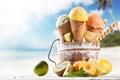 Picture ice cream, horn, dessert, dessert, fruits, sweet, beach, ice cream, sweet, fruit, tropical