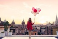 Picture Italy, twilight, girl, sunset, dusk, roof, Rome, balloons