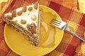 Picture napkin, orange background, plug, sweet, plate, cake, nuts, a piece of cake, food, cake, chocolate, ...