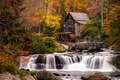 Picture waterfall, house, autumn, forest, Babcock Park