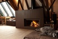 Picture style, attic, interior, house, design, fireplace, cat