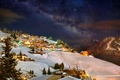 Picture snow, mountains, winter, home, resort, lights, town, night, the sky, stars