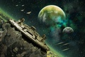 Picture planet, green, construction, spaceship