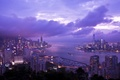 Picture Victoria Harbour, clouds, Braemar Hill, skyscrapers, Hong Kong, lighting, panorama, Bay, China, the evening, lilac, ...