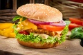 Picture pepper, tomatoes, vegetables, salad, roll, leaves, sesame, cheese, fast food, sandwich, hamburger, Patty, bow