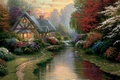 Picture flowers, light, painting, A Quiet Evening, painting, Thomas Kinkade, cottage, Kinkade, path, the evening, stream, ...